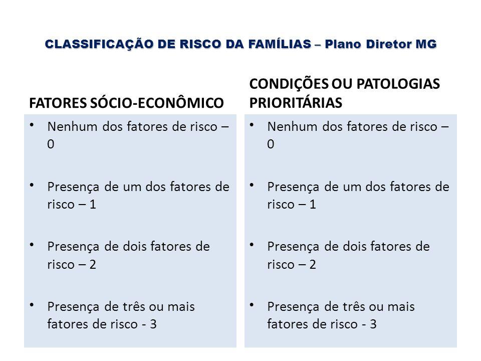 CLASSIFICAÇÃO DE RISCO DA FAMÍLIAS – Plano Diretor MG FATORES SÓCIO-ECONÔMICO Nenhum dos fatores de risco – 0 Presença de um dos fatores de risco – 1