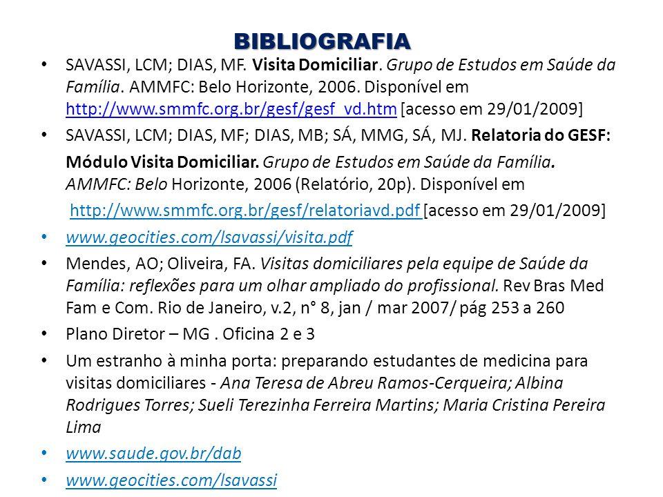 BIBLIOGRAFIA SAVASSI, LCM; DIAS, MF. Visita Domiciliar. Grupo de Estudos em Saúde da Família. AMMFC: Belo Horizonte, 2006. Disponível em http://www.sm