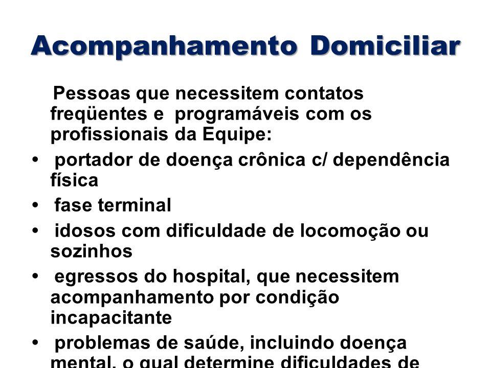 Acompanhamento Domiciliar Pessoas que necessitem contatos freqüentes e programáveis com os profissionais da Equipe: portador de doença crônica c/ depe