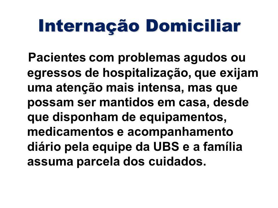 Internação Domiciliar Pacientes com problemas agudos ou egressos de hospitalização, que exijam uma atenção mais intensa, mas que possam ser mantidos e