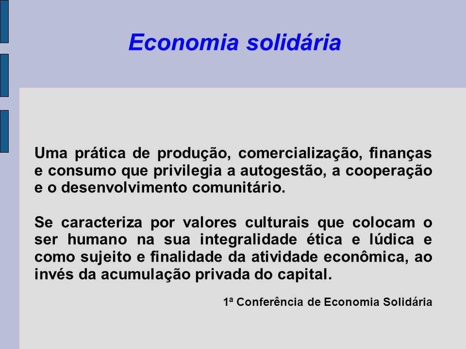 Economia solidária Uma prática de produção, comercialização, finanças e consumo que privilegia a autogestão, a cooperação e o desenvolvimento comunitá