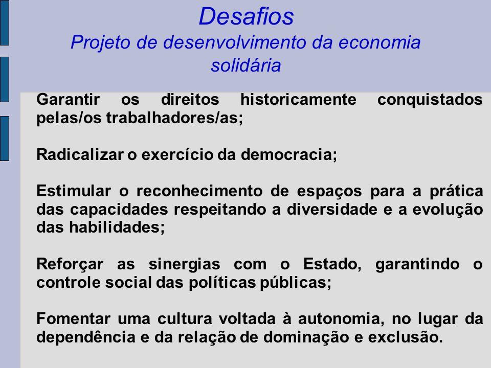 Desafios Projeto de desenvolvimento da economia solidária Estreitar o relacionamento com outros movimentos sociais e com os demais setores organizados da sociedade, para construir uma agenda de luta e de reivindicações que garantam o pleno exercício da cidadania, cooperação e solidariedade.