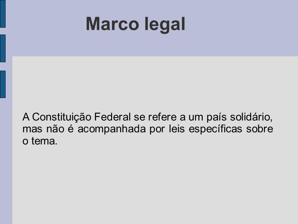 Marco legal A Constituição Federal se refere a um país solidário, mas não é acompanhada por leis específicas sobre o tema.