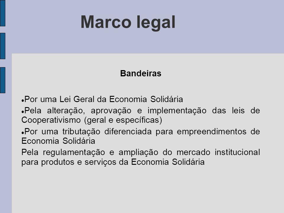 Marco legal Bandeiras Por uma Lei Geral da Economia Solidária Pela alteração, aprovação e implementação das leis de Cooperativismo (geral e específica