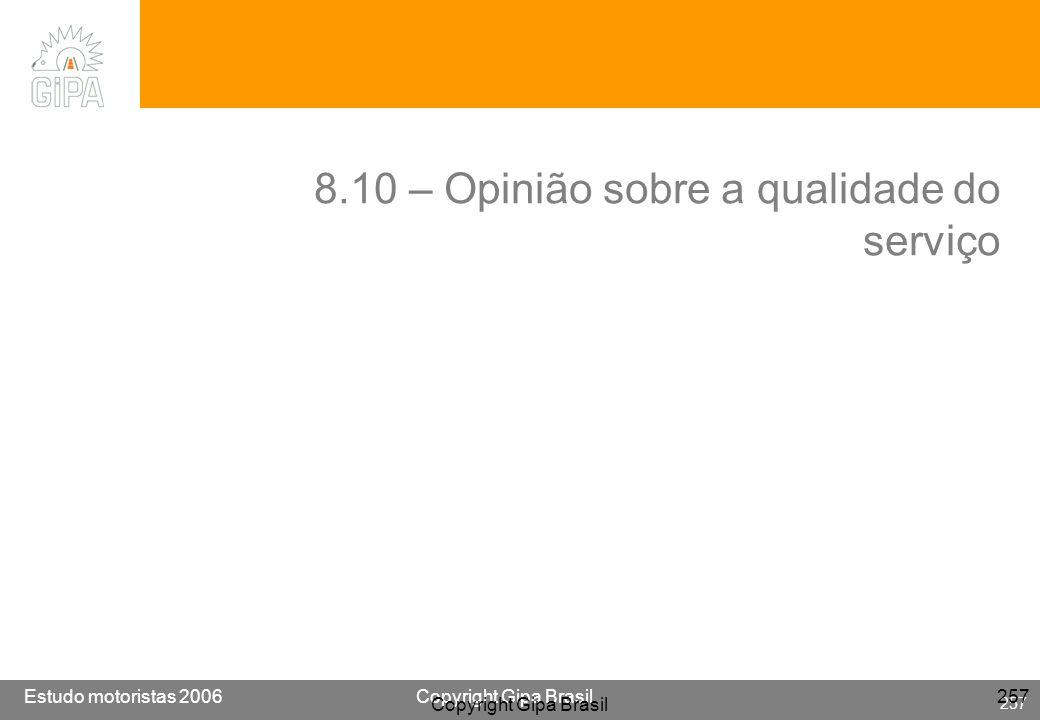 Etude conducteur 2005Copyright Gipa Brasil 257 Base : 3790 Estudo motoristas 2006Copyright Gipa Brasil 257 Copyright Gipa Brasil 257 8.10 – Opinião so