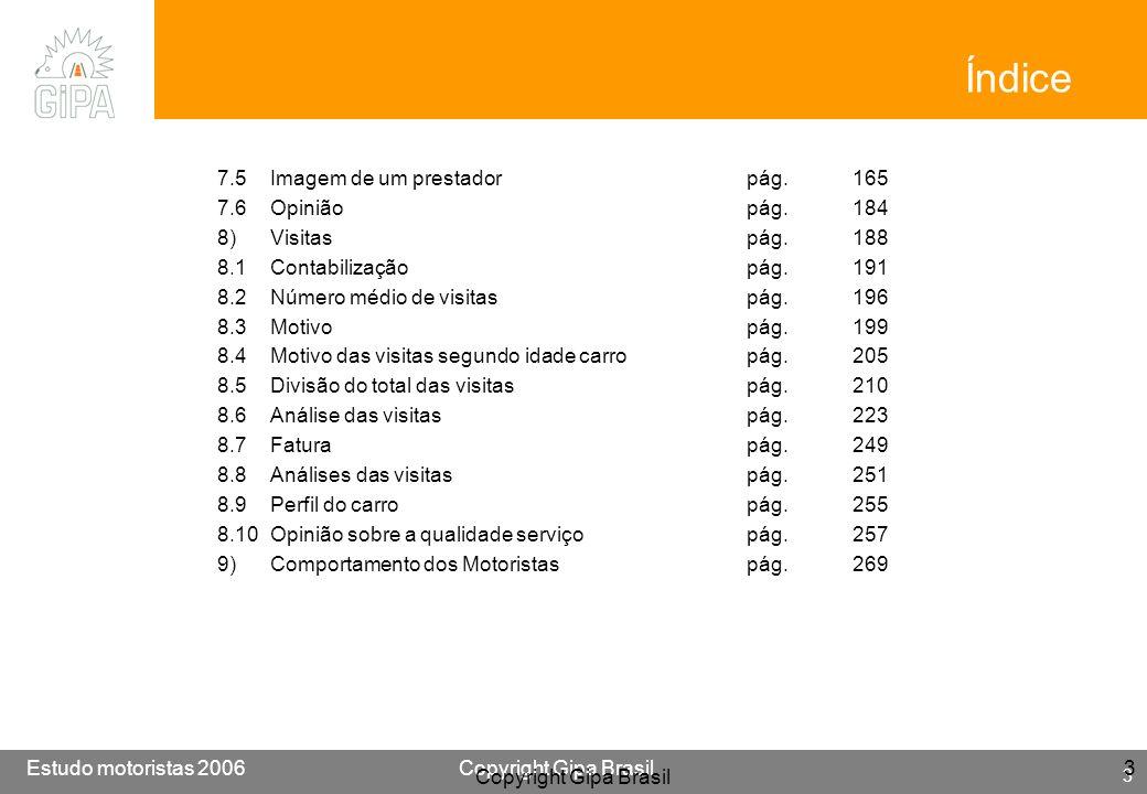 Etude conducteur 2005Copyright Gipa Brasil 244 Base : 3790 Estudo motoristas 2006Copyright Gipa Brasil 244 Copyright Gipa Brasil 244 8.6 MOTIVO: Depois de uma acidente/ batida Visão no tempo Os CircuitosAs operações