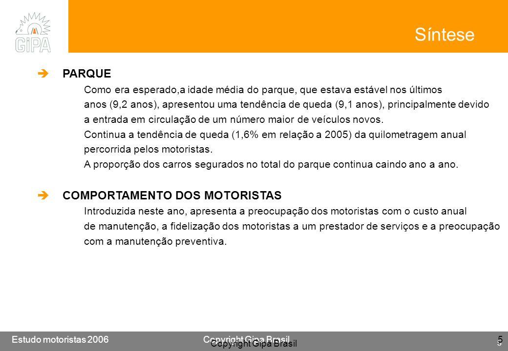 Etude conducteur 2005Copyright Gipa Brasil 6 Base : 3790 Estudo motoristas 2006Copyright Gipa Brasil 6 6 Síntese PRESTADORES DE SERVIÇO Embora não esteja entre os primeiros critérios que os motoristas levam em conta na escolha do local onde efetuarão a manutenção de seus veículos, o critério Não ter de esperar é o que vem apresentando maior crescimento nos últimos anos.