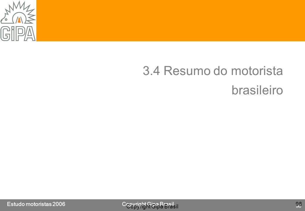 Etude conducteur 2005Copyright Gipa Brasil 98 Base : 3790 Estudo motoristas 2006Copyright Gipa Brasil 98 Copyright Gipa Brasil 98 3.4 Resumo do motori