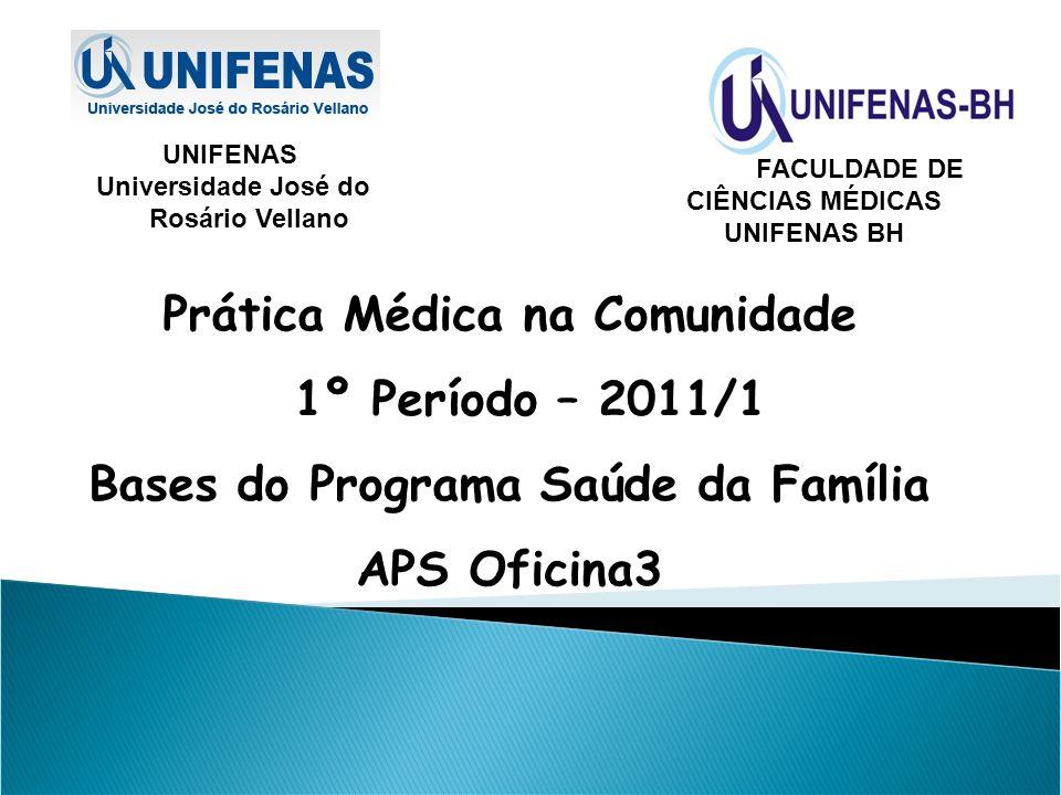 FACULDADE DE CIÊNCIAS MÉDICAS UNIFENAS BH UNIFENAS Universidade José do Rosário Vellano Prática Médica na Comunidade 1º Período – 2011/1 Bases do Prog