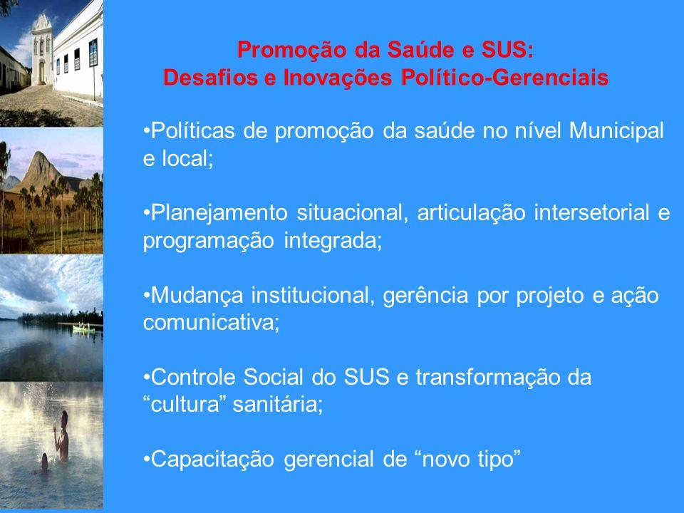 Promoção da Saúde e SUS: Desafios e Inovações Político-Gerenciais Políticas de promoção da saúde no nível Municipal e local; Planejamento situacional,