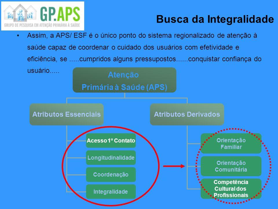 Assim, a APS/ ESF é o único ponto do sistema regionalizado de atenção à saúde capaz de coordenar o cuidado dos usuários com efetividade e eficiência,