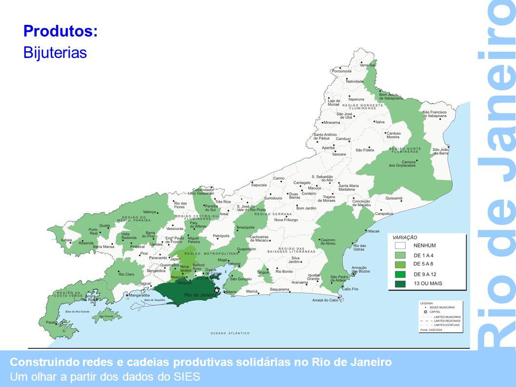 Construindo redes e cadeias produtivas solidárias no Rio de Janeiro Um olhar a partir dos dados do SIES Rio de Janeiro Produtos: Bijuterias