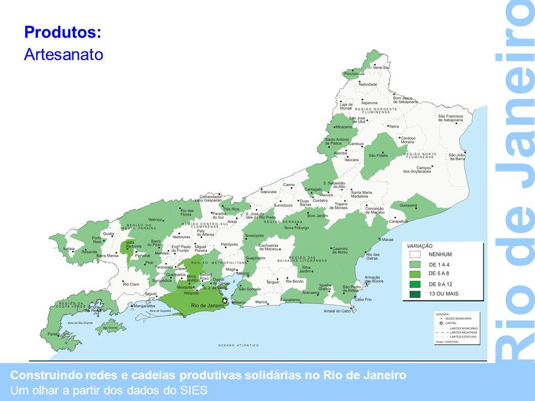 Construindo redes e cadeias produtivas solidárias no Rio de Janeiro Um olhar a partir dos dados do SIES Rio de Janeiro Produtos: Artesanato