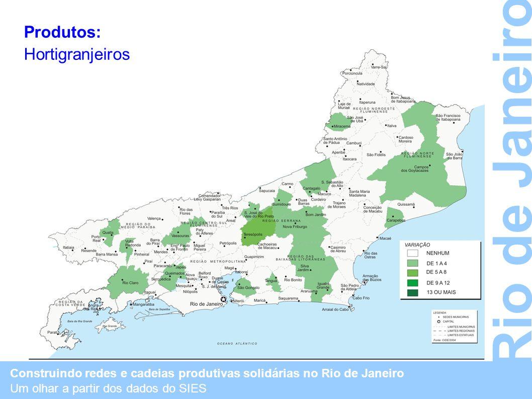 Construindo redes e cadeias produtivas solidárias no Rio de Janeiro Um olhar a partir dos dados do SIES Rio de Janeiro Produtos: Hortigranjeiros