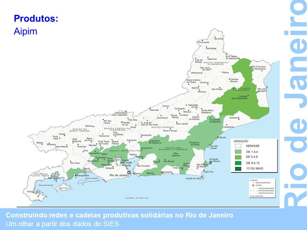 Construindo redes e cadeias produtivas solidárias no Rio de Janeiro Um olhar a partir dos dados do SIES Rio de Janeiro Produtos: Aipim