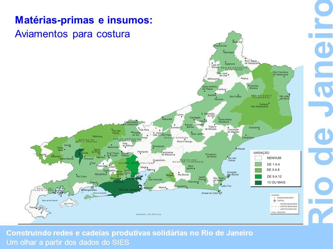 Construindo redes e cadeias produtivas solidárias no Rio de Janeiro Um olhar a partir dos dados do SIES Rio de Janeiro Matérias-primas e insumos: Avia
