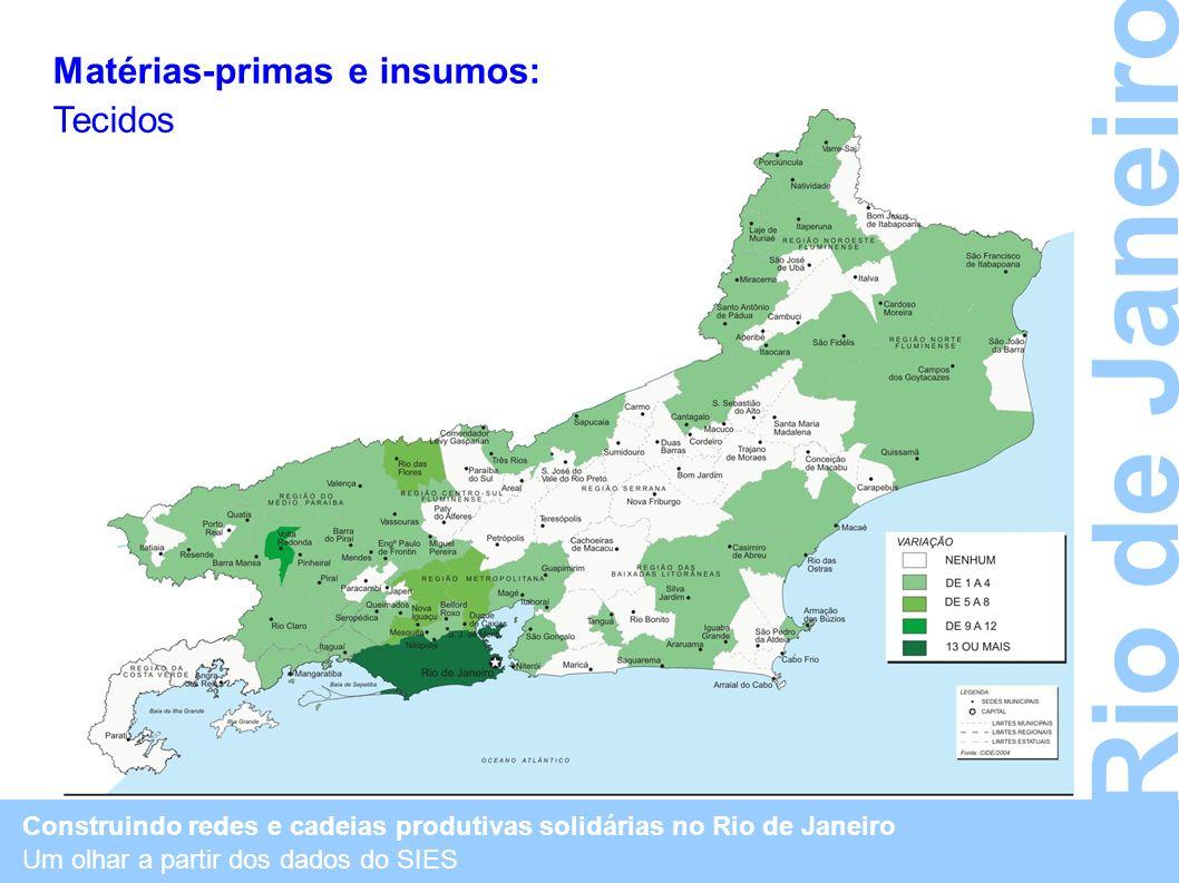 Construindo redes e cadeias produtivas solidárias no Rio de Janeiro Um olhar a partir dos dados do SIES Rio de Janeiro Matérias-primas e insumos: Teci