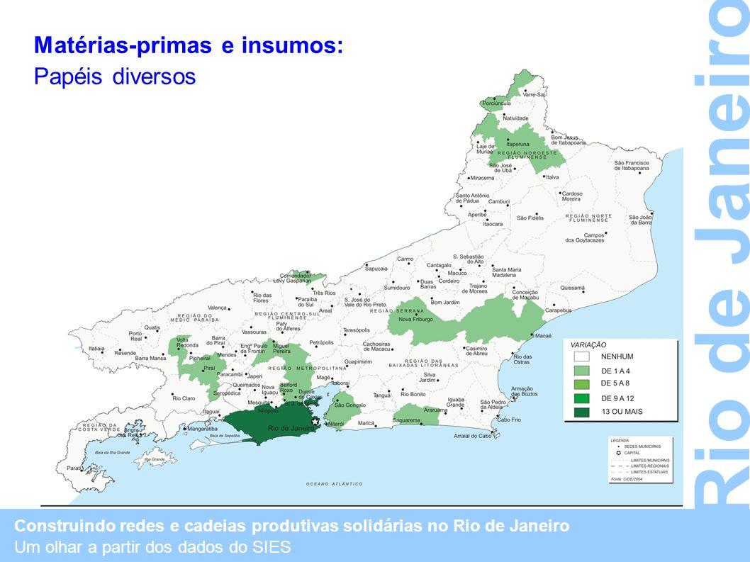 Matérias-primas e insumos: Papéis diversos Construindo redes e cadeias produtivas solidárias no Rio de Janeiro Um olhar a partir dos dados do SIES Rio