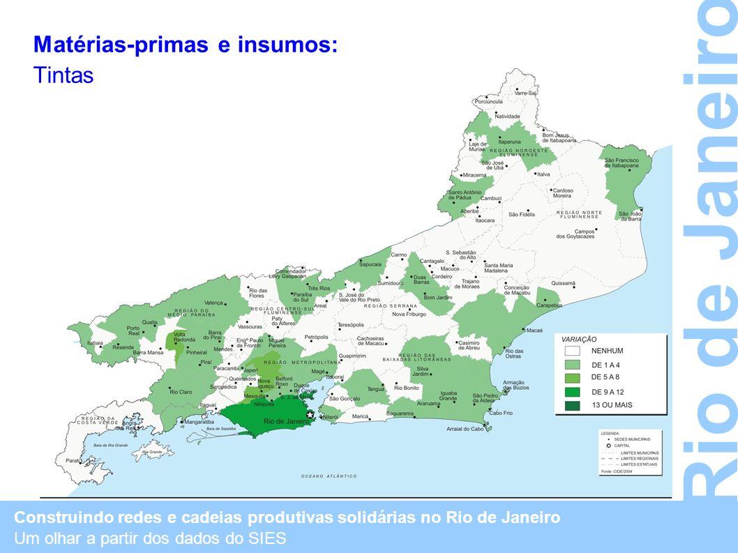 Construindo redes e cadeias produtivas solidárias no Rio de Janeiro Um olhar a partir dos dados do SIES Rio de Janeiro Matérias-primas e insumos: Tint