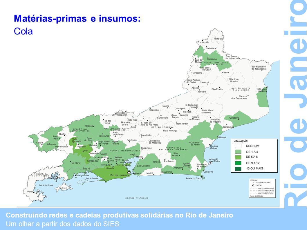 Construindo redes e cadeias produtivas solidárias no Rio de Janeiro Um olhar a partir dos dados do SIES Rio de Janeiro Matérias-primas e insumos: Cola