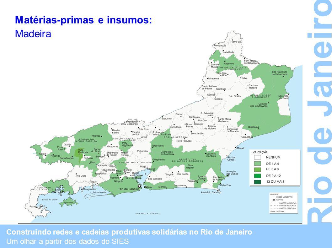 Construindo redes e cadeias produtivas solidárias no Rio de Janeiro Um olhar a partir dos dados do SIES Rio de Janeiro Matérias-primas e insumos: Made