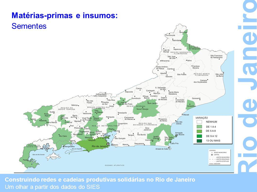 Construindo redes e cadeias produtivas solidárias no Rio de Janeiro Um olhar a partir dos dados do SIES Rio de Janeiro Matérias-primas e insumos: Seme