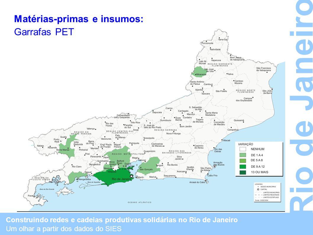 Construindo redes e cadeias produtivas solidárias no Rio de Janeiro Um olhar a partir dos dados do SIES Rio de Janeiro Matérias-primas e insumos: Garr