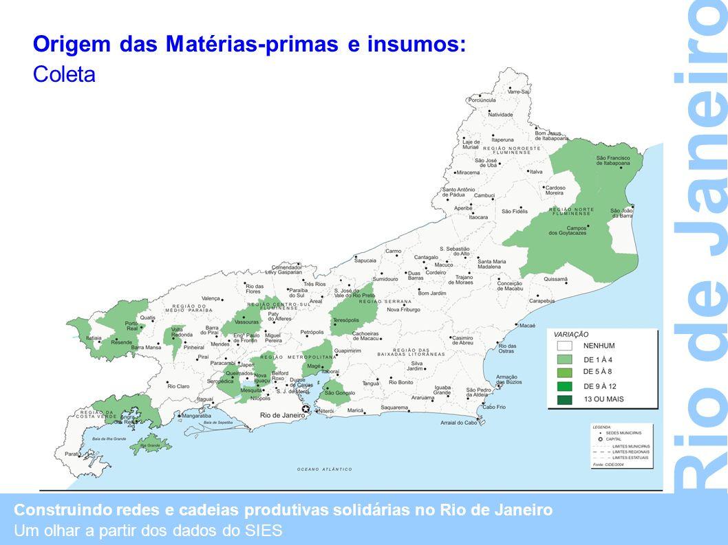 Construindo redes e cadeias produtivas solidárias no Rio de Janeiro Um olhar a partir dos dados do SIES Rio de Janeiro Origem das Matérias-primas e in