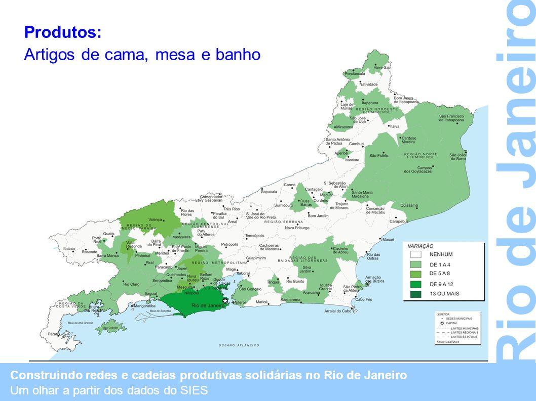 Construindo redes e cadeias produtivas solidárias no Rio de Janeiro Um olhar a partir dos dados do SIES Rio de Janeiro Produtos: Artigos de cama, mesa