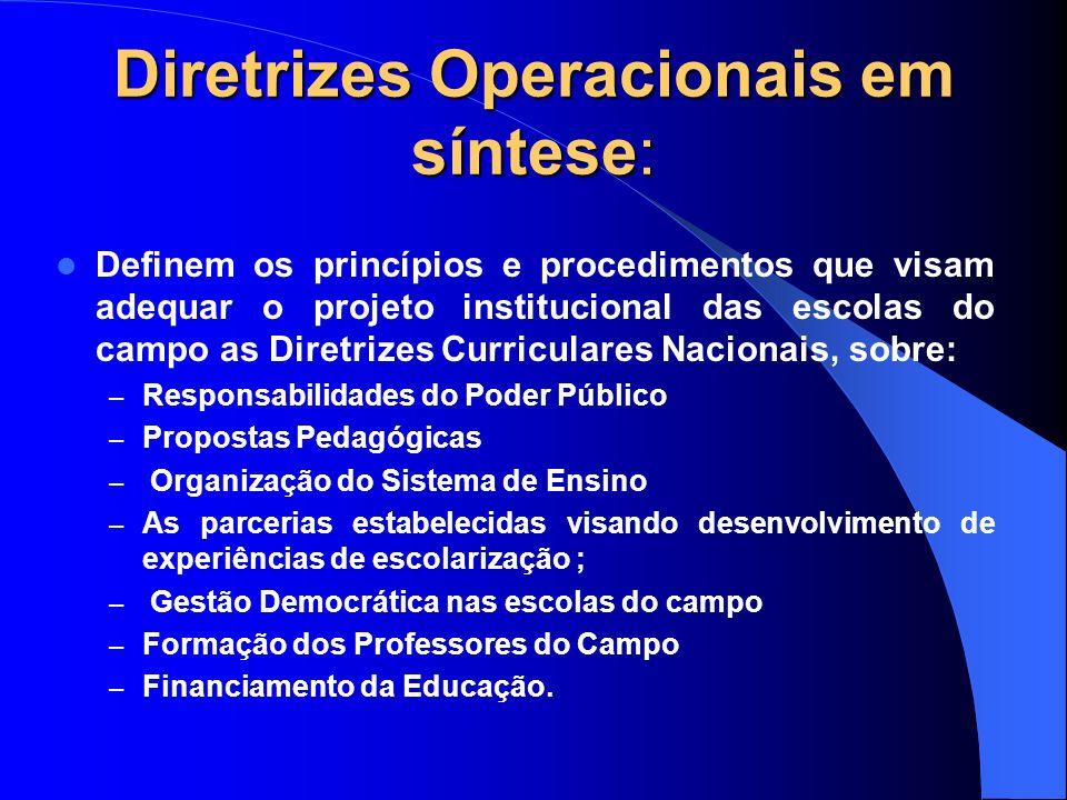 Diretrizes Operacionais em síntese: Definem os princípios e procedimentos que visam adequar o projeto institucional das escolas do campo as Diretrizes