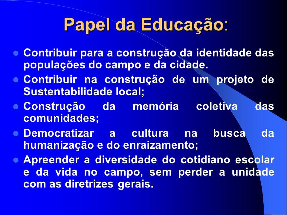 Papel da Educação: Contribuir para a construção da identidade das populações do campo e da cidade. Contribuir na construção de um projeto de Sustentab