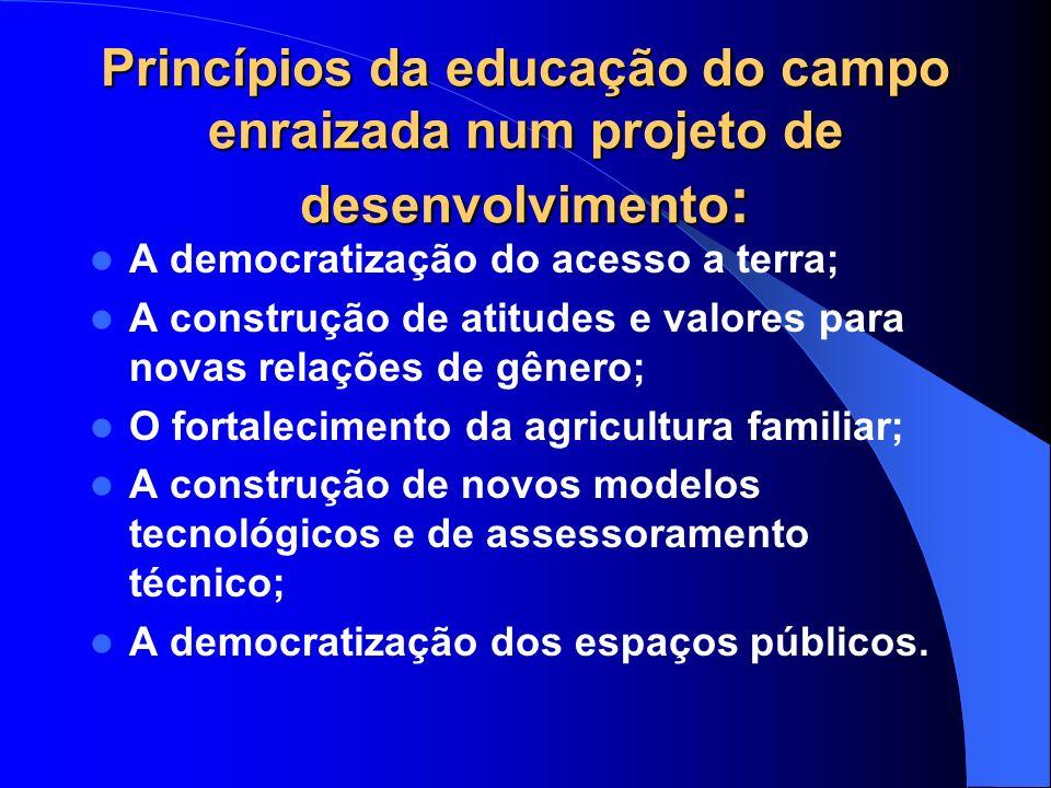 Princípios da educação do campo enraizada num projeto de desenvolvimento : A democratização do acesso a terra; A construção de atitudes e valores para