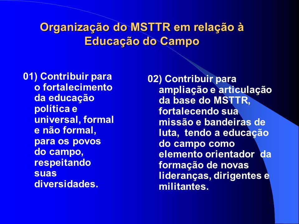 Organização do MSTTR em relação à Educação do Campo 01) Contribuir para o fortalecimento da educação política e universal, formal e não formal, para o