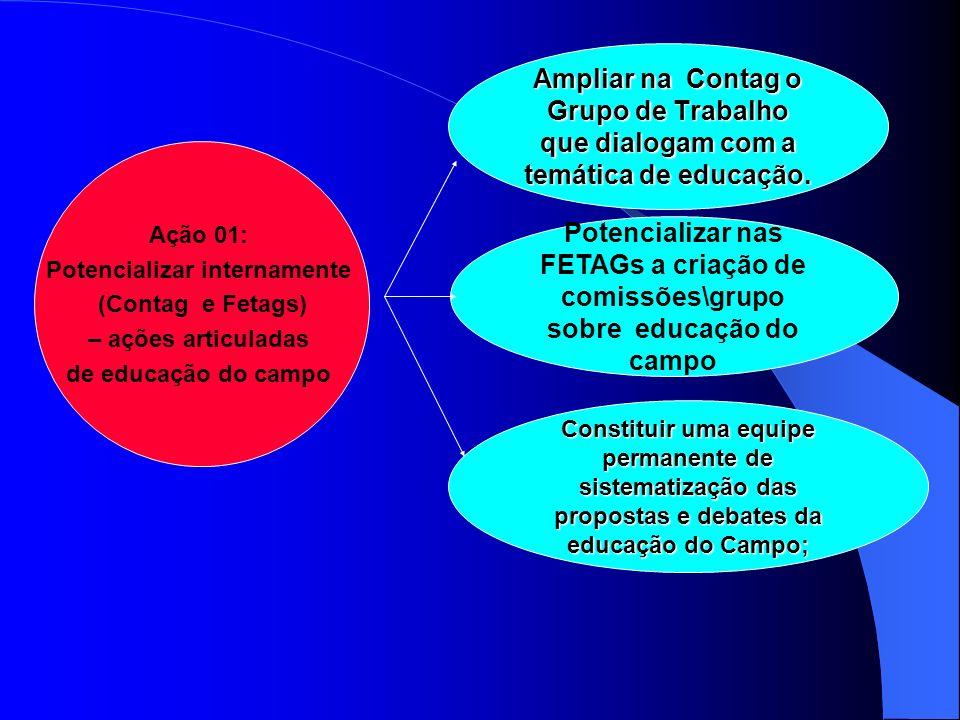 Ação 01: Potencializar internamente (Contag e Fetags) – ações articuladas de educação do campo ; Ampliar na Contag o Grupo de Trabalho que dialogam co