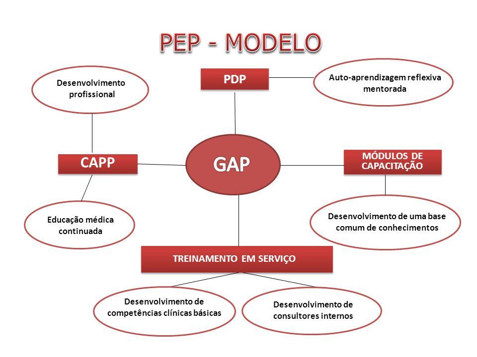 PDP TREINAMENTO EM SERVIÇO Desenvolvimento de competências clínicas básicas Desenvolvimento de consultores internos Auto-aprendizagem reflexiva mentorada CAPP Educação médica continuada Desenvolvimento profissional MÓDULOS DE CAPACITAÇÃO Desenvolvimento de uma base comum de conhecimentos