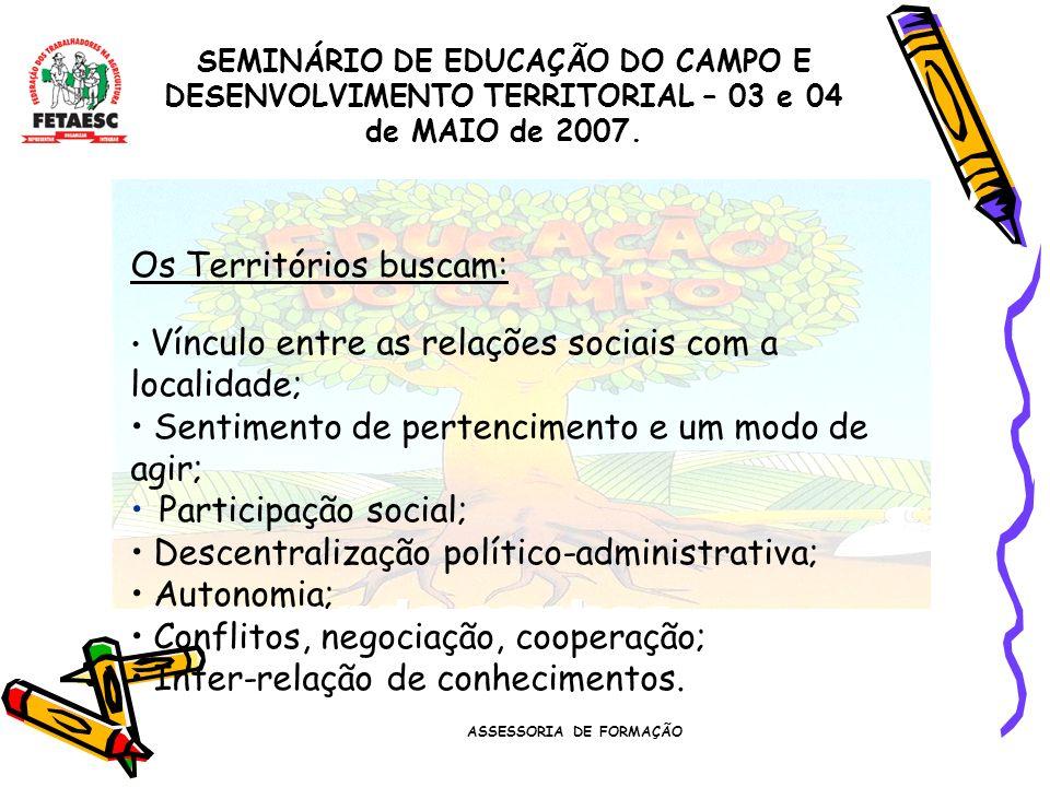 ASSESSORIA DE FORMAÇÃO SEMINÁRIO DE EDUCAÇÃO DO CAMPO E DESENVOLVIMENTO TERRITORIAL – 03 e 04 de MAIO de 2007. Os Territórios buscam: Vínculo entre as