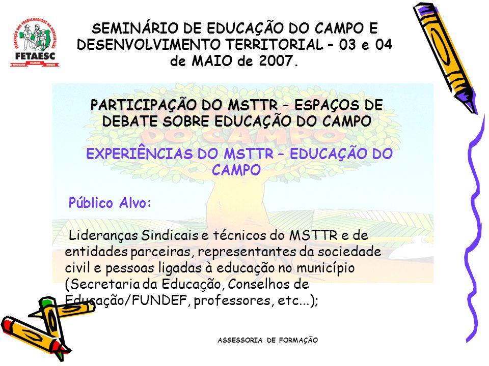 ASSESSORIA DE FORMAÇÃO SEMINÁRIO DE EDUCAÇÃO DO CAMPO E DESENVOLVIMENTO TERRITORIAL – 03 e 04 de MAIO de 2007. PARTICIPAÇÃO DO MSTTR PARTICIPAÇÃO DO M