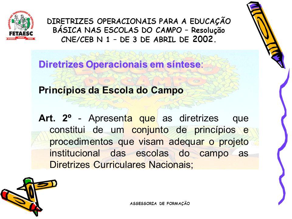 ASSESSORIA DE FORMAÇÃO Diretrizes Operacionais em síntese: Princípios da Escola do Campo Art.