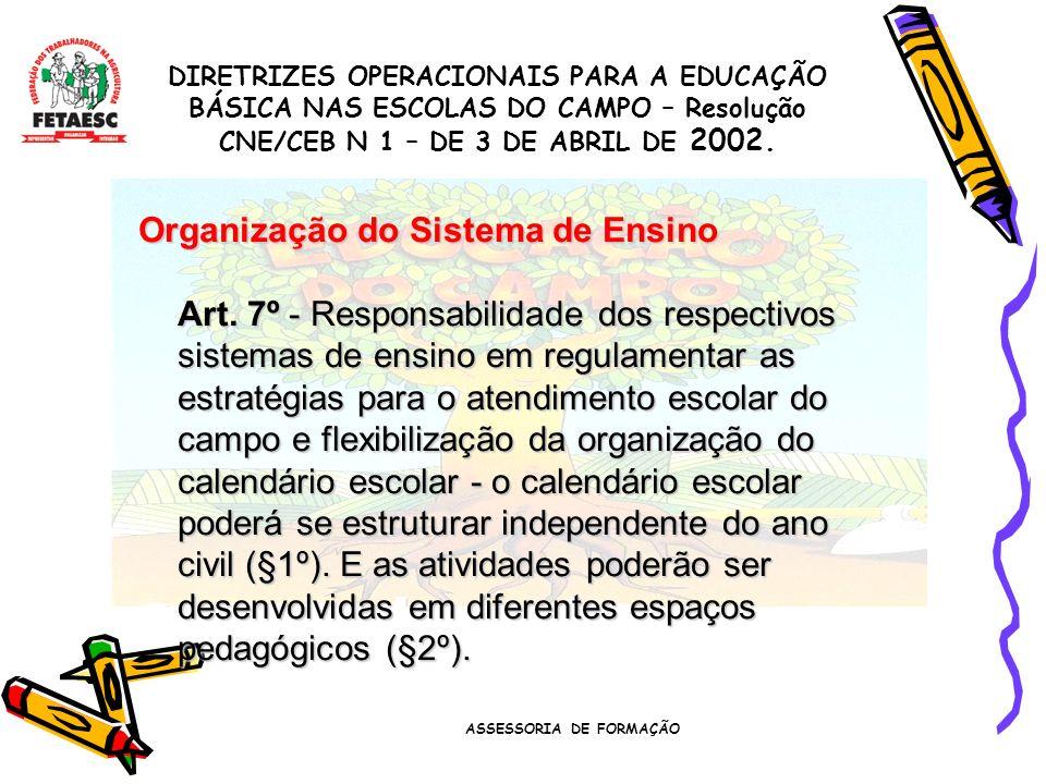 ASSESSORIA DE FORMAÇÃO Organização do Sistema de Ensino Art.