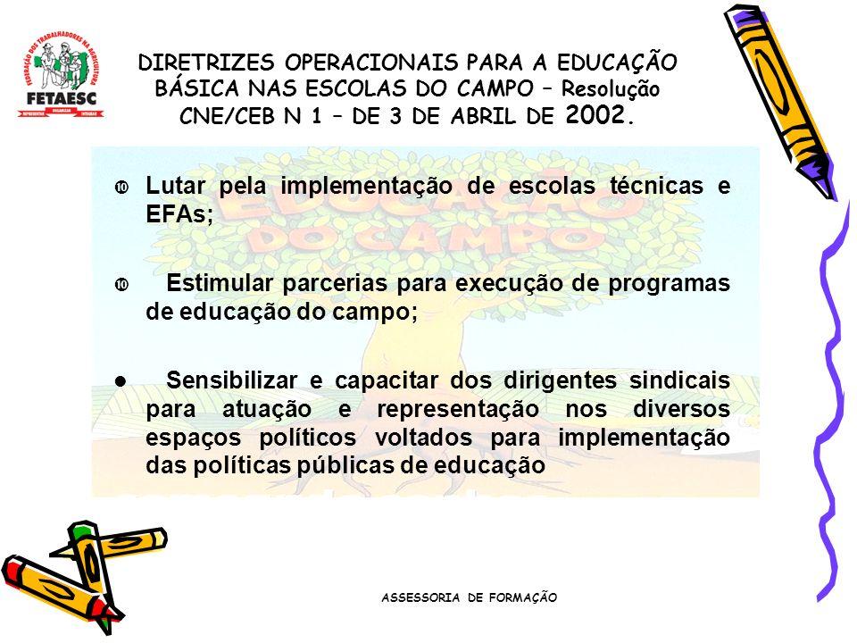 ASSESSORIA DE FORMAÇÃO Lutar pela implementação de escolas técnicas e EFAs; Estimular parcerias para execução de programas de educação do campo; Sensibilizar e capacitar dos dirigentes sindicais para atuação e representação nos diversos espaços políticos voltados para implementação das políticas públicas de educação DIRETRIZES OPERACIONAIS PARA A EDUCAÇÃO BÁSICA NAS ESCOLAS DO CAMPO – Resolução CNE/CEB N 1 – DE 3 DE ABRIL DE 2002.