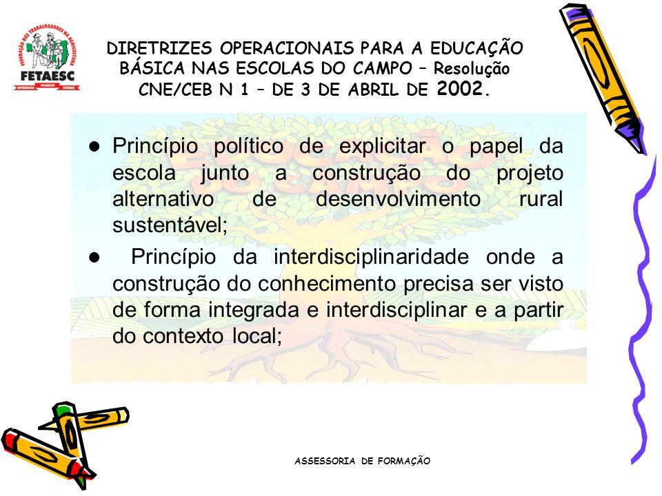 ASSESSORIA DE FORMAÇÃO Princípio político de explicitar o papel da escola junto a construção do projeto alternativo de desenvolvimento rural sustentável; Princípio da interdisciplinaridade onde a construção do conhecimento precisa ser visto de forma integrada e interdisciplinar e a partir do contexto local; DIRETRIZES OPERACIONAIS PARA A EDUCAÇÃO BÁSICA NAS ESCOLAS DO CAMPO – Resolução CNE/CEB N 1 – DE 3 DE ABRIL DE 2002.
