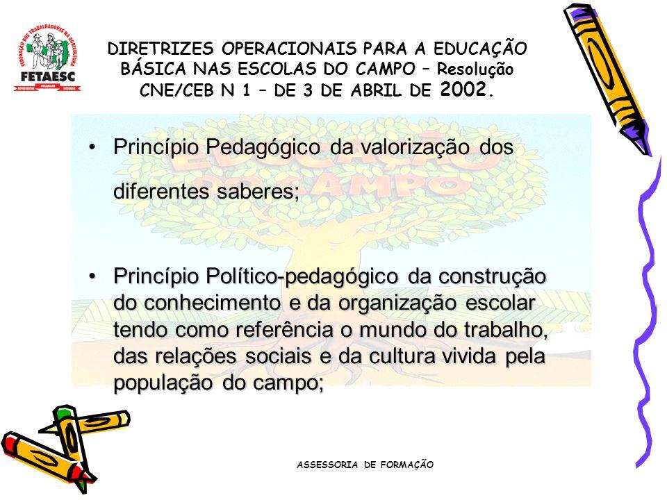 ASSESSORIA DE FORMAÇÃO Princípio Pedagógico da valorização dos diferentes saberes; Princípio Político-pedagógico da construção do conhecimento e da organização escolar tendo como referência o mundo do trabalho, das relações sociais e da cultura vivida pela população do campo;Princípio Político-pedagógico da construção do conhecimento e da organização escolar tendo como referência o mundo do trabalho, das relações sociais e da cultura vivida pela população do campo; DIRETRIZES OPERACIONAIS PARA A EDUCAÇÃO BÁSICA NAS ESCOLAS DO CAMPO – Resolução CNE/CEB N 1 – DE 3 DE ABRIL DE 2002.