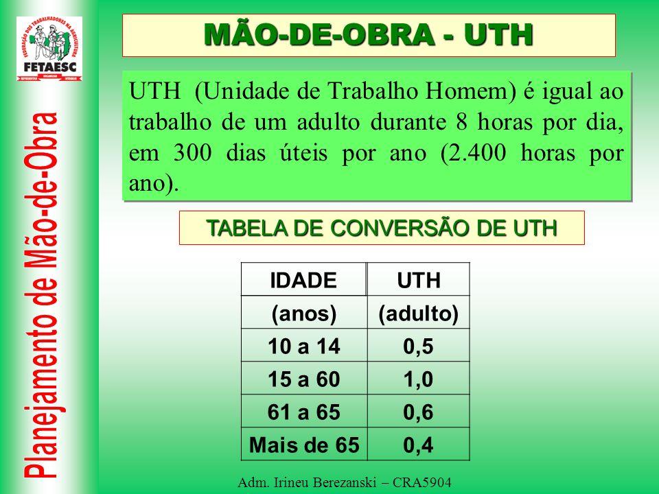Adm. Irineu Berezanski – CRA5904 MÃO-DE-OBRA - UTH UTH (Unidade de Trabalho Homem) é igual ao trabalho de um adulto durante 8 horas por dia, em 300 di