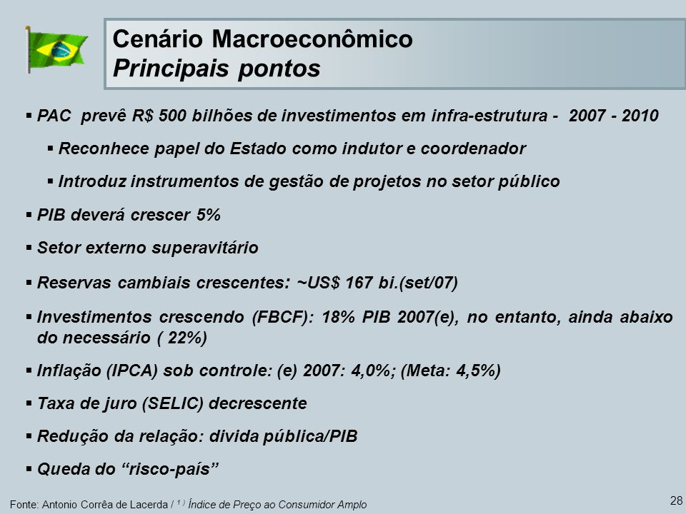 28 Fonte: Antonio Corrêa de Lacerda / 1 ) Índice de Preço ao Consumidor Amplo Cenário Macroeconômico Principais pontos PAC prevê R$ 500 bilhões de inv