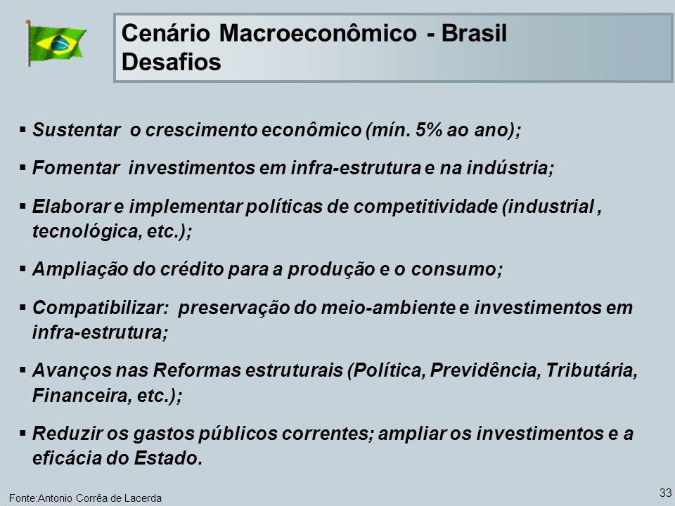 33 Sustentar o crescimento econômico (mín. 5% ao ano); Fomentar investimentos em infra-estrutura e na indústria; Elaborar e implementar políticas de c