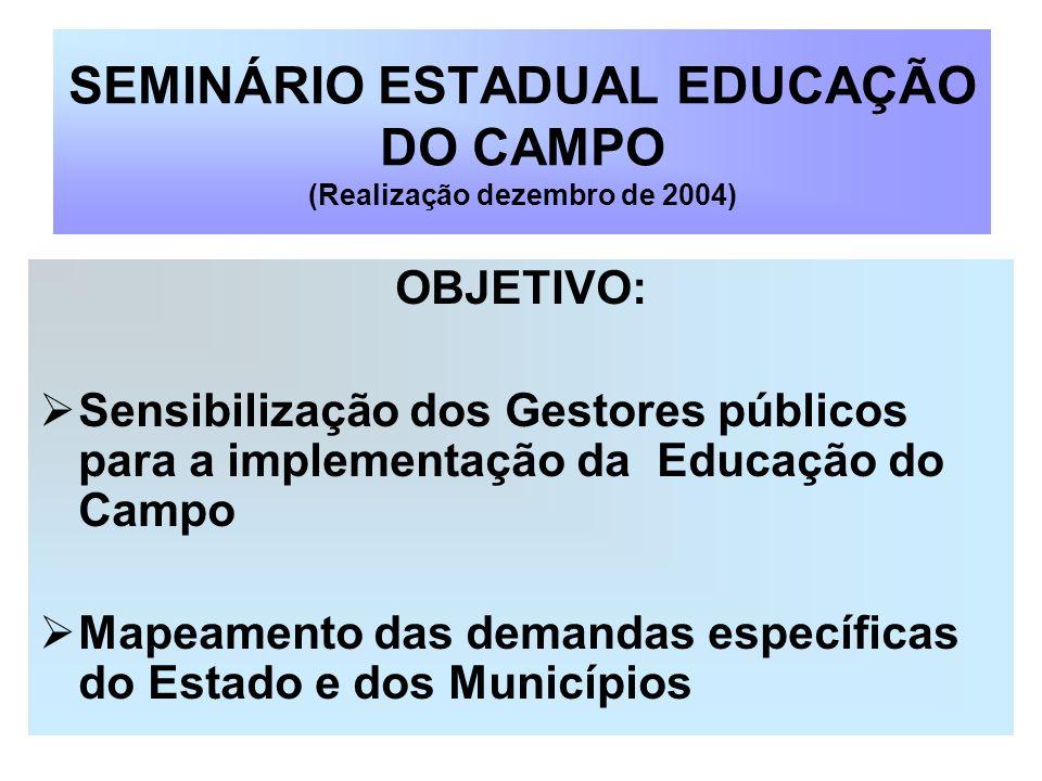 SEMINÁRIO ESTADUAL EDUCAÇÃO DO CAMPO (Realização dezembro de 2004) OBJETIVO: Sensibilização dos Gestores públicos para a implementação da Educação do