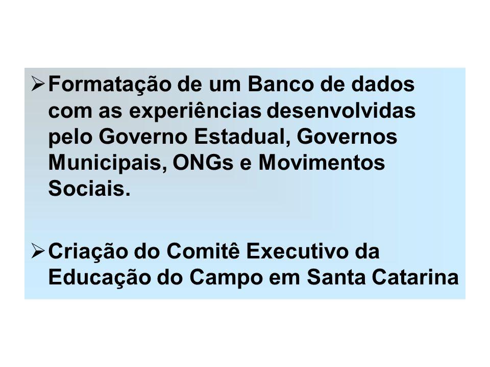 Formatação de um Banco de dados com as experiências desenvolvidas pelo Governo Estadual, Governos Municipais, ONGs e Movimentos Sociais. Criação do Co