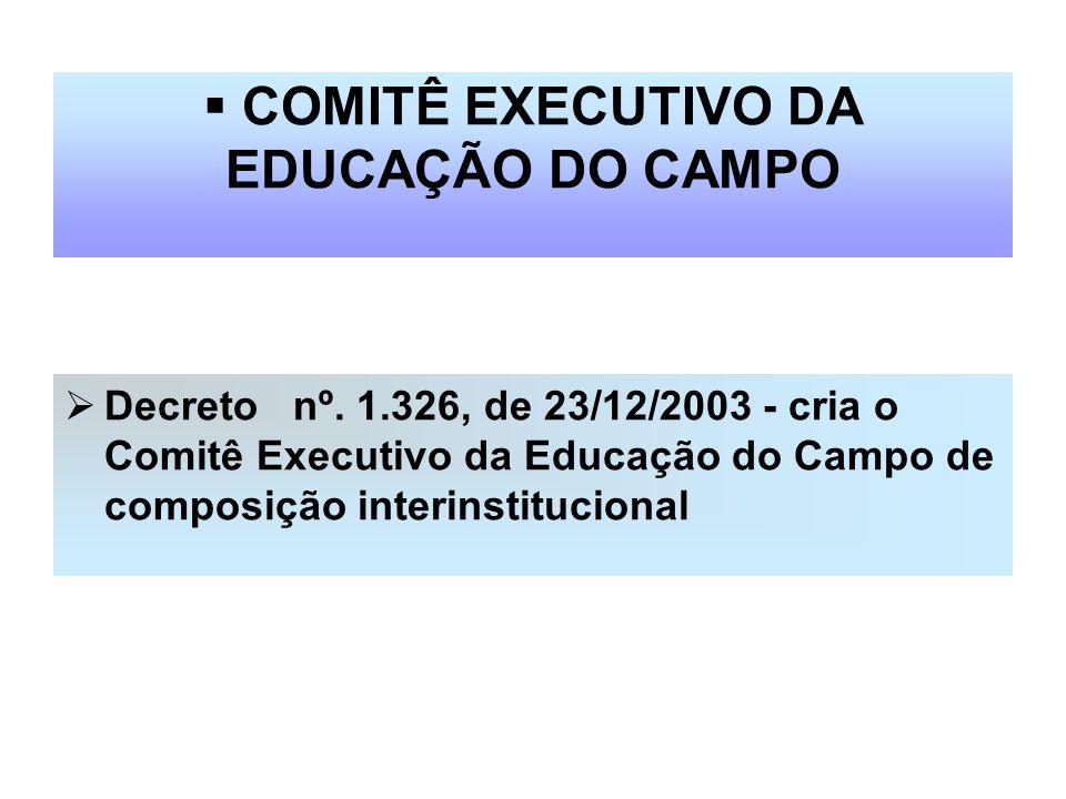 COMITÊ EXECUTIVO DA EDUCAÇÃO DO CAMPO Decreto nº. 1.326, de 23/12/2003 - cria o Comitê Executivo da Educação do Campo de composição interinstitucional