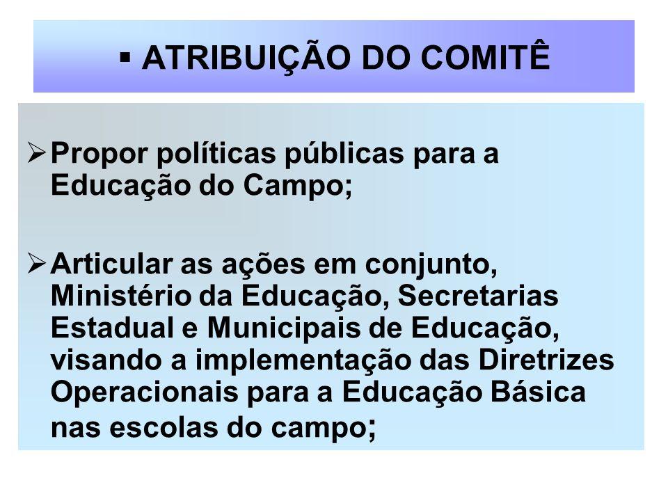 ATRIBUIÇÃO DO COMITÊ Propor políticas públicas para a Educação do Campo; Articular as ações em conjunto, Ministério da Educação, Secretarias Estadual