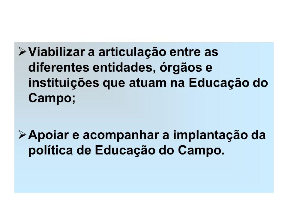 Viabilizar a articulação entre as diferentes entidades, órgãos e instituições que atuam na Educação do Campo; Apoiar e acompanhar a implantação da pol